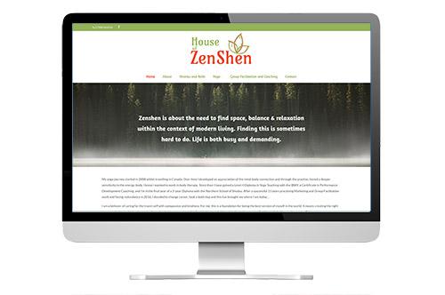 House of Zenshen branding and website design screenshot