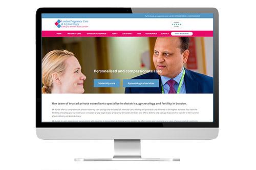 London Pregnancy Care web design screenshot